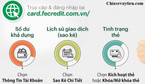 Hướng dẫn tra cứu thông tin thẻ tín dụng Fe Credit