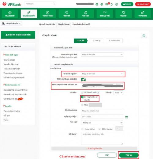 Cách thanh toán dư nợ thẻ tín dụng VPBank qua Internet Banking VPBank Online mới nhất 2021