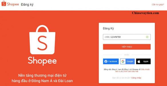 Nhập số điện thoại đăng ký mở tài khoản Shopee