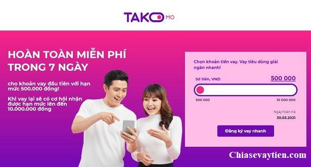 Đăng ký vay tiền Online Takomo giải ngân trong ngày