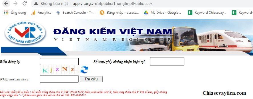 Website cục đăng kiểm Việt Nam