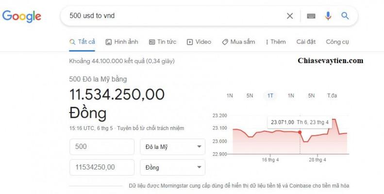 Kết quả quy đổi 500 USD to VND