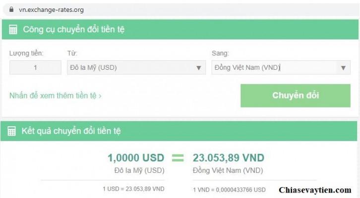 Quy đổi USD to VNĐ