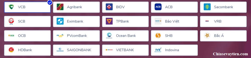 Ví điện tử MOMO hiện đang liên kết với hơn 35 ngân hàng thanh toán nội địa