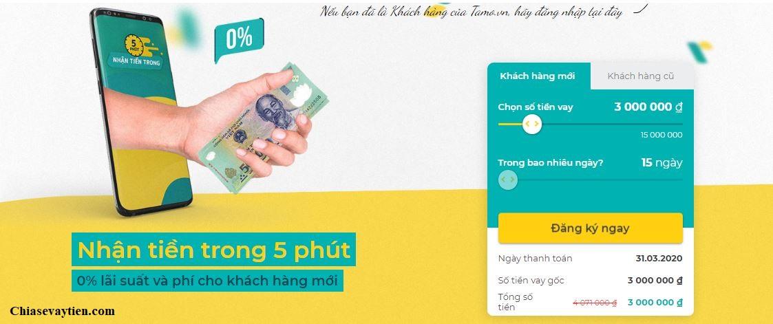 Đăng ký vay tiền nhanh Tamo.vn