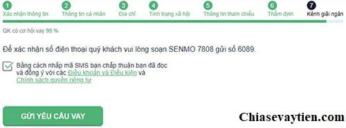 Gửi yêu cầu đăng ký vay tiền Online Senmo