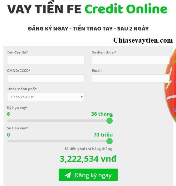 Vay tín chấp Online Fe Credit