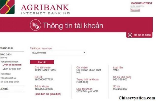 Kiểm tra sô dư tài khoản Agribank qua Internet Banking