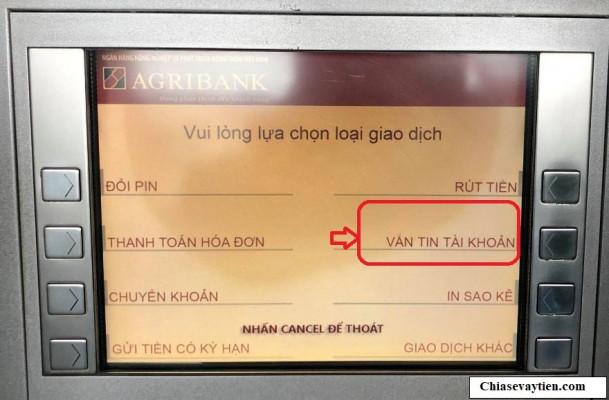 Kiểm tra số dư tài khoản Agribank qua ATM