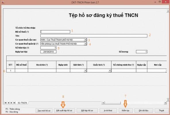 Kết xuất hồ sơ cho cơ quan thuế đăng ký mã số thuế cá nhân