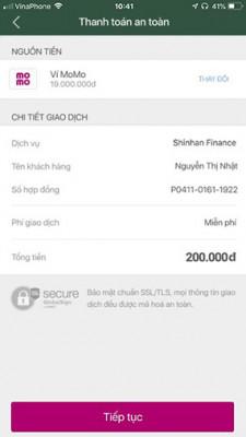 Thanh toán, tất toán khoản vay Shinhan Finance qua MOMO