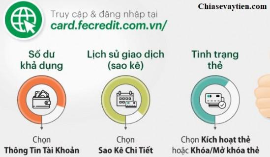 Tra cứu thông tin thẻ tín dụng Fe Credit Qua Website