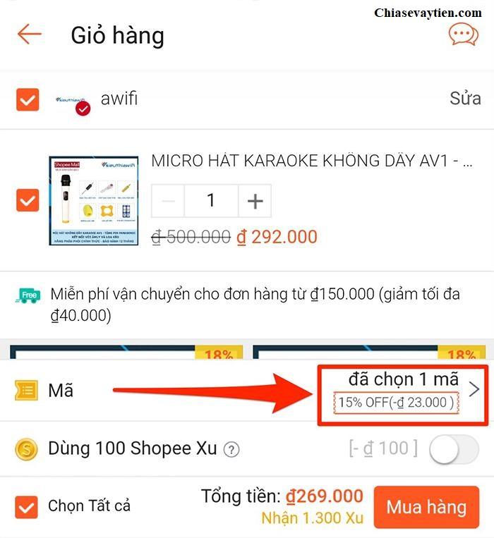 Nhập mã giảm giá Shopee trên Mobile