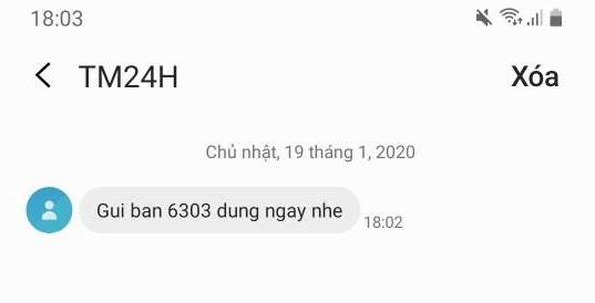 Tin nhắn xác nhận từ ATM Online